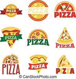 Pizza logo set, flat style