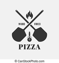 Pizza logo with oven shovel. Wood fired pizza