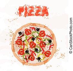 pizza, macchie, colorito, pomodori