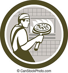 Pizza Maker Holding Peel Side Retro Circle