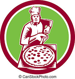Pizza Maker Holding Pizza Peel Circle Woodcut - Illustration...