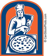 Pizza Maker Holding Pizza Peel Shield Woodcut - Illustration...