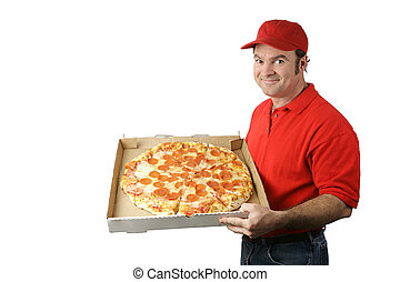 A pizza delivery man holding a hot, fresh pepperoni pizza. Isolated on white.