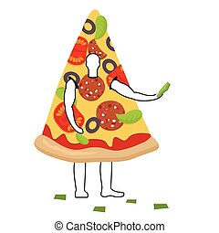 Pizza man mascot promoter. Male in suit slice distributes flyers. Puppets food engaged in advertising goods