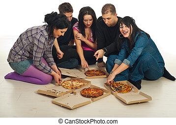 pizza, mangiare, casa, amici