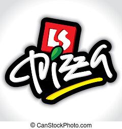 pizza, mano, iscrizione, (vector)