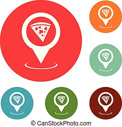 Pizza map pointer icons circle set vector