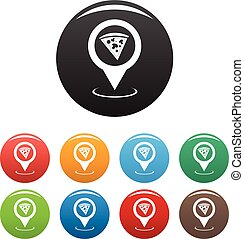 Pizza map pointer icons set vector simple