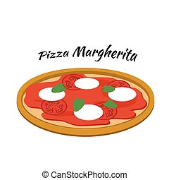 Pizza margherita, illustration in flat style
