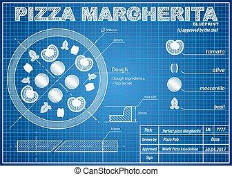 Pizza Margherita ingredients blueprint scheme