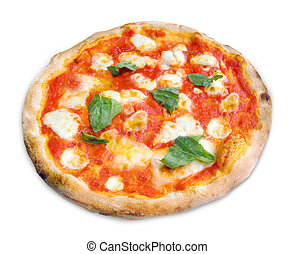 Pizza Margherita on white background - Pizza Margherita with...
