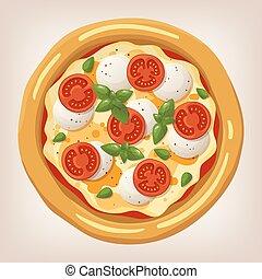 Pizza Margherita vector illustration.