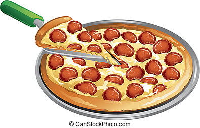 Pizza meal - Illustration of a pepperoni pizza with a slice...