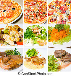 pizza, meat, salad and other