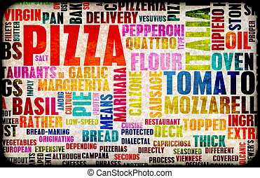 Pizza Menu as Concept Background with Toppings