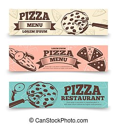 Pizza menu banners template - food vintage banners