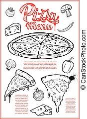 Pizza menu cover layout. Menu chalkboard with hand drawn illustr