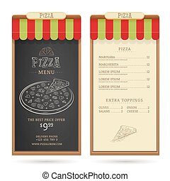 Pizza menu design template with vintage graphic elements....
