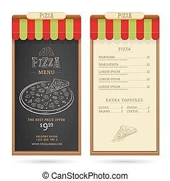 Pizza menu design template with vintage graphic elements. ...