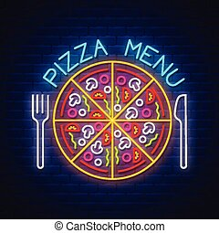Pizza Menu - Neon Sign Vector on brick wall background