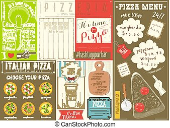 Pizza Menu Placemat - Pizzeria Placemat - Colorful Paper...