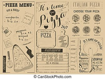 Pizza Menu Placemat - Pizzeria Placemat - Craft Paper Menu...