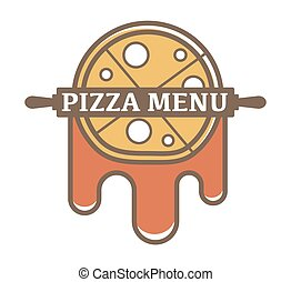 Pizza menu promotional logotype with rolling pin and tomato sauce