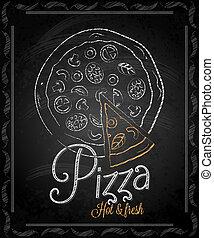 pizza, -, menu, quadro, chalkboard
