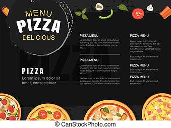 Pizza menu template for restaurant and cafe. Design for flyer, brochure.