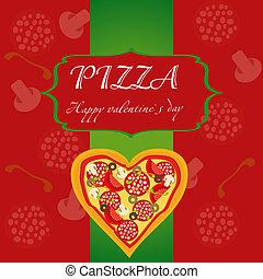 Pizza Menu Template on Valentine`s Day, vector illustration