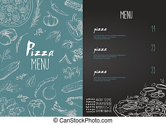 Pizza menu the names of dishes of Pizza, Vector set - Pizza...