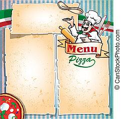 pizza, meny, kock