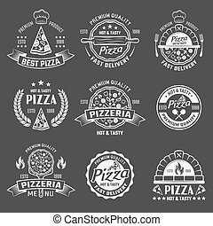 Pizza Monochrome Emblems Set