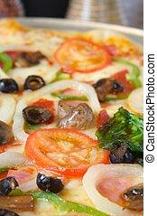 pizza, naložený