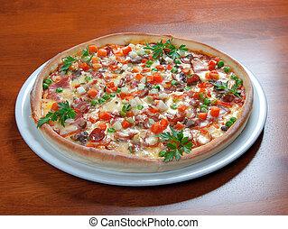 pizza., nourriture, jeûne