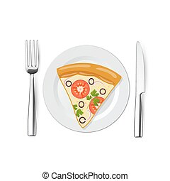 pizza on a plate with fork, knife