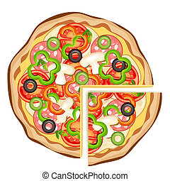 Pizza on a white background