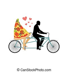 Pizza on bicycle. Lovers of cycling. Man rolls a slice of pizza on tandem. Joint walk with a meal. Romantic date Italian food. Romantic illustration life gourmet