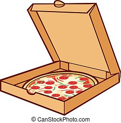 pizza on cardboard (pizza in box)