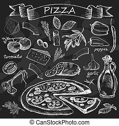 Pizza on chalk board