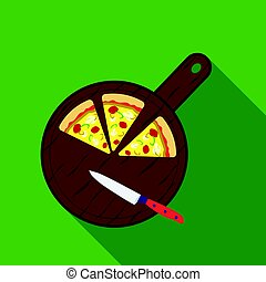 Pizza on cutting board icon in flat style isolated on white background. Pizza and pizzeria symbol stock vector illustration.