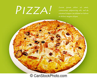 Pizza on green background