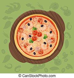 Pizza on the cutting board. Pizza menu concept illustration.