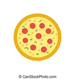 Pizza on white background. Slice of Italian pepperoni pizza. Vector isolated Illustration.