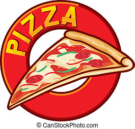 pizza, ontwerp, etiket
