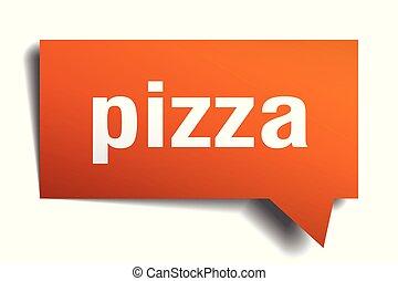pizza orange 3d speech bubble
