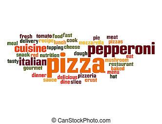 pizza, ord, moln