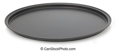 Pizza Pan - Empty clean pizza pan over white.