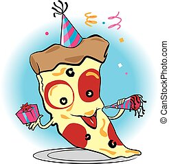 Pizza Party - A cartoon slice of pizza celebrating