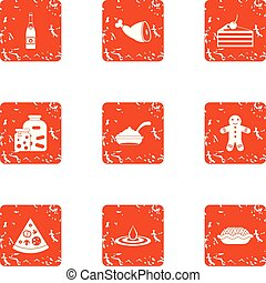 Pizza party icons set, grunge style - Pizza party icons set....